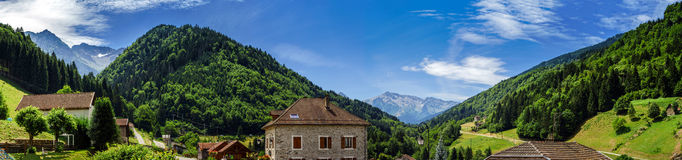 Beautiful panoramic view of little village in rench Alps Royalty Free Stock Photography