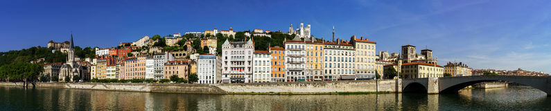 Beautiful panoramic view of Lyon from river coast Royalty Free Stock Image
