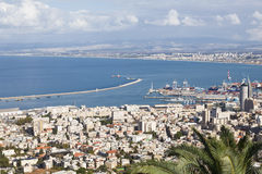 Beautiful panoramic view from Mount Carmel to cityscape and port in Haifa Royalty Free Stock Photography