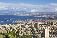 Beautiful panoramic view from Mount Carmel to cityscape and port in Haifa, Stock Image