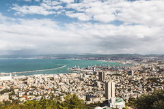 Beautiful panoramic view from Mount Carmel to cityscape and port in Haifa Stock Photos