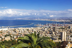 Beautiful panoramic view from Mount Carmel to cityscape and port in Haifa, Stock Photos