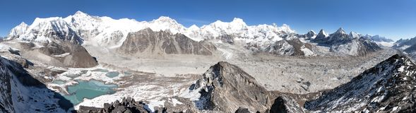 Beautiful panoramic view of Mount Cho Oyu and Everest Royalty Free Stock Image