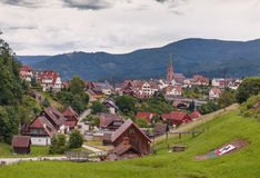 Beautiful panoramic view of the mountain village Bermersbach. Germany.Schwarzwald stock images