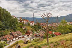 Beautiful panoramic view of the mountain village Bermersbach. Germany.Schwarzwald stock photos