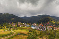 Beautiful panoramic view of the mountain village Bermersbach. Germany. Schwarzwald royalty free stock image