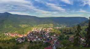 Beautiful panoramic view of the mountain village Bermersbach. Germany.Schwarzwald.Panorama of the eight photos royalty free stock image