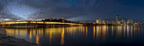 Beautiful panoramic view of the Narrows Bridge on the Swan River and downtown at blue hour, Perth, Western Australia stock photo