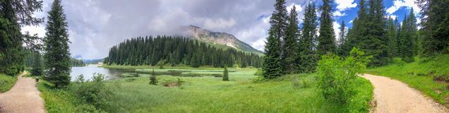 Beautiful Panoramic View Of Alpin Lake Stock Image