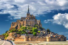 Free Beautiful Panoramic View Of Famous Le Mont Saint-Michel Tidal Island With Blue Sky. Normandy, Northern France Royalty Free Stock Image - 160306506