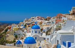 Beautiful panoramic view on Oia at Santorini Royalty Free Stock Photography