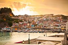Beautiful view of Parga early evening, Greece. Royalty Free Stock Photos