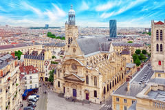 Beautiful panoramic view of Paris from the roof of the Pantheon. Royalty Free Stock Photo