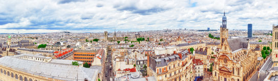 Beautiful panoramic view of Paris from the roof of the Pantheon. Royalty Free Stock Images