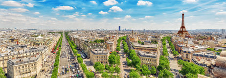 Beautiful panoramic view of Paris from the roof of the Triumphal royalty free stock photography