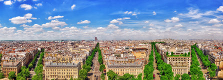 Beautiful panoramic view of Paris from the roof of the Triumphal Stock Image