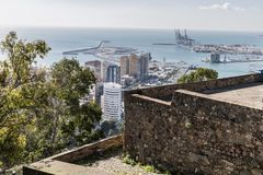 Beautiful panoramic view of the Port of Malaga with its calm blue waters royalty free stock photos
