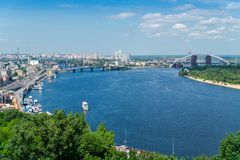 Beautiful panoramic view on Postal Square and Dnieper river in Kiev. Ukraine royalty free stock photo