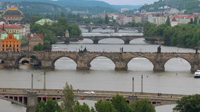 Beautiful Panoramic View of Prague Bridges on River Vltava stock video