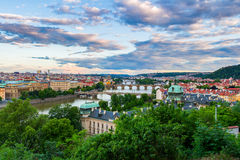 Beautiful Panoramic View of Prague Bridges on River Vltava from Letna Park Royalty Free Stock Image