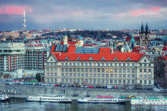 Beautiful Panoramic View of Prague Bridges on River Vltava Royalty Free Stock Photography