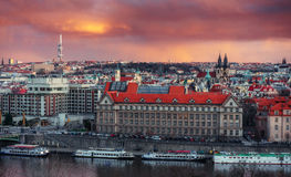 Beautiful Panoramic View of Prague Bridges on River Vltava Royalty Free Stock Photos