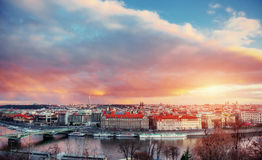 Beautiful Panoramic View of Prague Bridges on River Vltava Royalty Free Stock Photo