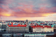 Beautiful Panoramic View of Prague Bridges on River Vltava Stock Photos