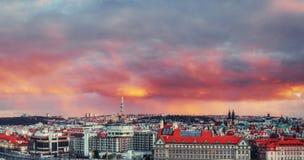 Beautiful Panoramic View of Prague Bridges. On River Vltava at sunset Stock Photos
