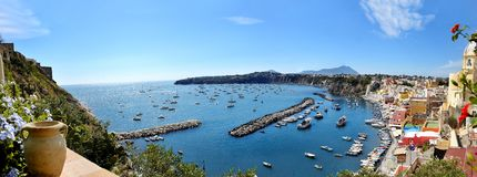 Beautiful panoramic view of Procida Stock Images