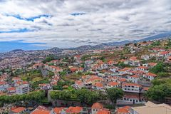 Beautiful panoramic view at residential district on Madeira island. Portugal royalty free stock image
