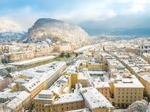 Beautiful panoramic view of Salzburg skyline with river Salzach in winter season snow , Austria royalty free stock photos