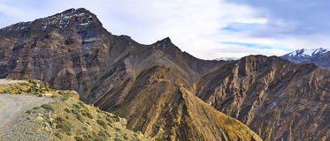 Beautiful panoramic view of snow capped Himalaya mountains from Manali Leh Highway in India royalty free stock photo