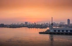 Beautiful panoramic view with sunset - Mumbai, India. Royalty Free Stock Image