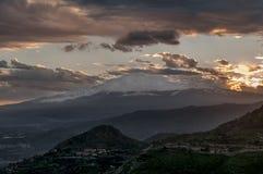 Beautiful panoramic view of Taormina from Castelmola, Messina, Sicily, Italy stock image