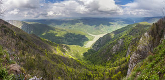 Beautiful panoramic view of Tara mountain and Drina river at Bil Stock Photography