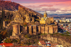 Beautiful panoramic view of Tbilisi. At sunset, Georgia country Royalty Free Stock Image