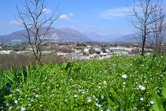 Panoramic view to the Alps of Lecco and the Brianza plain in a sunny spring day. royalty free stock photography