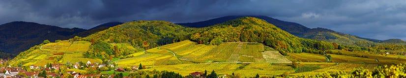 Beautiful panoramic view to Andlau, France Royalty Free Stock Photos