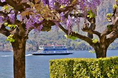 Beautiful panoramic view to ferry boat moving on the lake Como at Bellagio in early spring sunny day. stock photo
