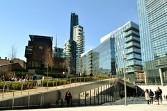 Beautiful panoramic view to the Porta Nuova new residential district in Milan in a sunny spring day. royalty free stock photo