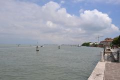 Beautiful panoramic view to the Venice lagoon in a sunny day. royalty free stock photo