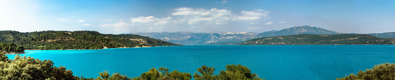 Beautiful panoramic view to the Verdon lake, Provence, France Stock Images