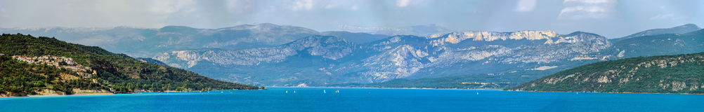 Beautiful panoramic view to the Verdon lake, Provence, France Royalty Free Stock Images