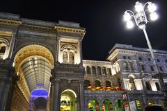 Beautiful panoramic view to the Vittorio Emanuele Gallery II during the New Year night concert. stock images