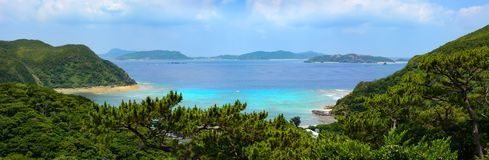 Beautiful panoramic view of Tokashiku Beach on the tropical island of Tokashiki in Okinawa, Japan royalty free stock photos