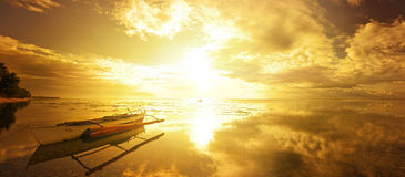 A beautiful panoramic view with a traditional boat the background Stock Image