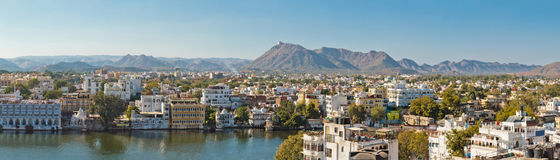 Beautiful panoramic view of Udaipur city in Rajastan, India. Stock Photos