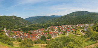 Beautiful panoramic view of the village Langenbrand in the mountains of Schwarzwald. Panorama of the eight photos royalty free stock image
