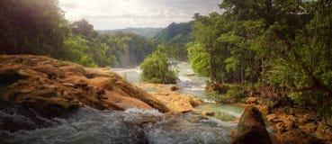 Beautiful panoramic view of the waterfalls Royalty Free Stock Photo